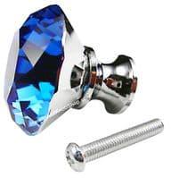 OVO® TEZ® Dali 40mm Blue Diamond Cut Crystal Knob Handle - Silver Glazed